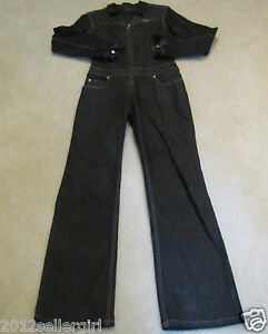 FUBU THE COLLECTION BLACK JEAN ZIP-UP DENIM CATSUIT ROMPER JUMPSUIT SZ 7-8