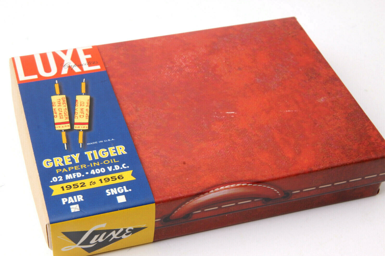 LUXE 1952-1956 grau Tiger Matched Pair of Wax Impregnated .02mF Capacitors rot