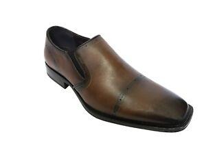 Mens-Smart-Heel-Italian-Slip-On-Shoes-Wedding-Suit-Formal-Party-Size-Tan-New