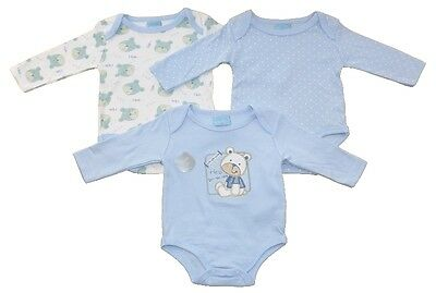 3 pack Baby Long Sleeved Cotton Bodysuits Teddy Design by Just Too Cute AW 17