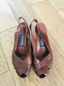 Women-s-BARRATTS-Leather-Summer-Wedges-Size-Slingback-Shoes-UK-4-Chocolate-Brown