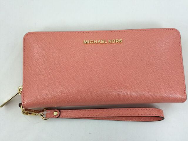 da83ad483542 New Authentic Michael Kors MK Jet Set Travel Leather Continental Wristlet  Peach