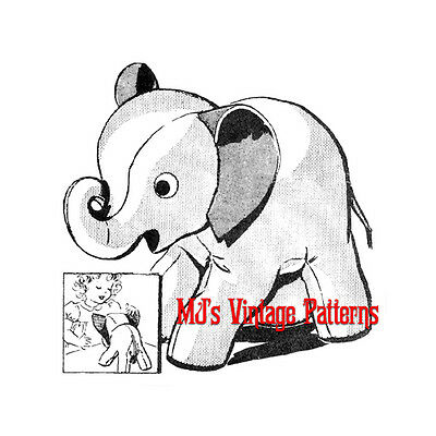 Stuffed Elephant Vintage Pattern with Curled-Up LUCKY Trunk