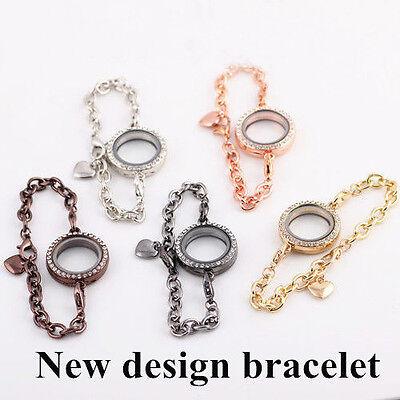 New Magnetic Crystal Living Memory Locket Bracelet Floating Charms 5 Colors BEST