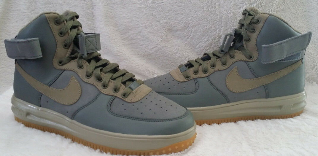 NIKE AIR FORCE 1 HIGH PREMIUM ID GREY SUEDE / LEATHER AND GUM SOLES SIZE 9.5