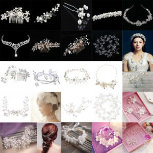 Women-Bridal-Wedding-Crystal-Pearl-Hair-Band-Headband-Tiara-Crown-headpiece-Lot