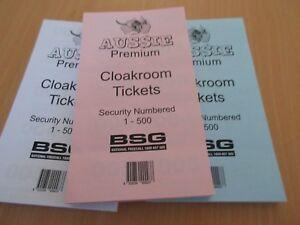 3 x Aussie Premium Cloak Room Cloakroom Pads NO. Tickets 1-500 free postage