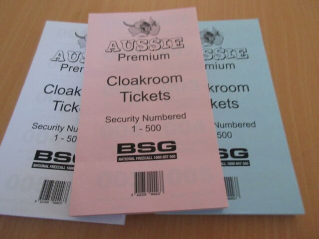 3 x Aussie Premium Cloak Room Cloakroom Pads NO. Tickets 1-500 free tracked post