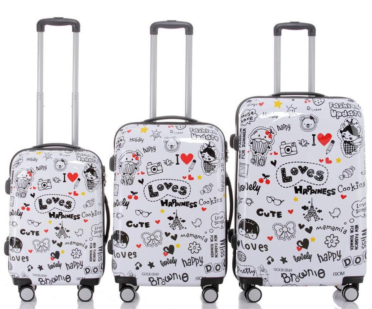 Valigia trolley rigido leggero 4 ruote autonome bagaglio con motivo BB Happiness