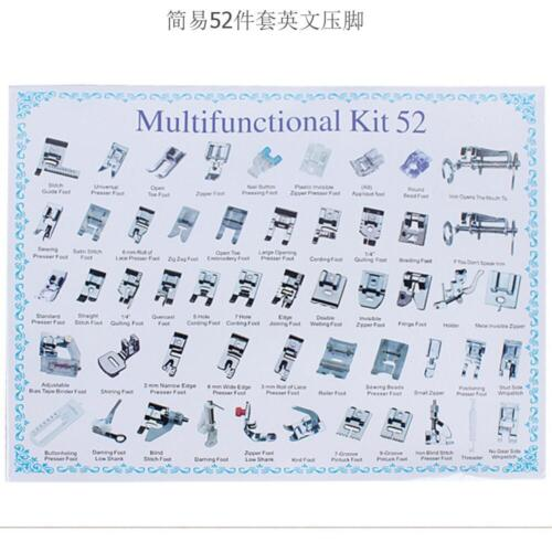 Domestic Sewing Machine Presser Foot Feet Set 52pcs for Brother Janome Singer Kj