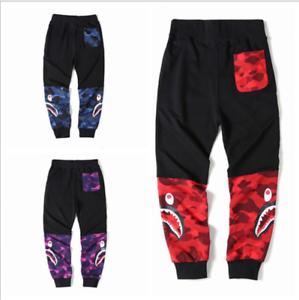 Unisex-Shark-Head-Bape-A-Bathing-Camo-Casual-Sports-Pencil-Pant-terry-Trousers