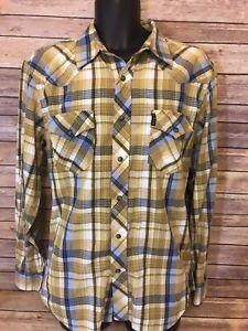 373d50e07d6 Cinch Pearl Snap Shirt Size Medium Mens Yellow Plaid Western Long ...