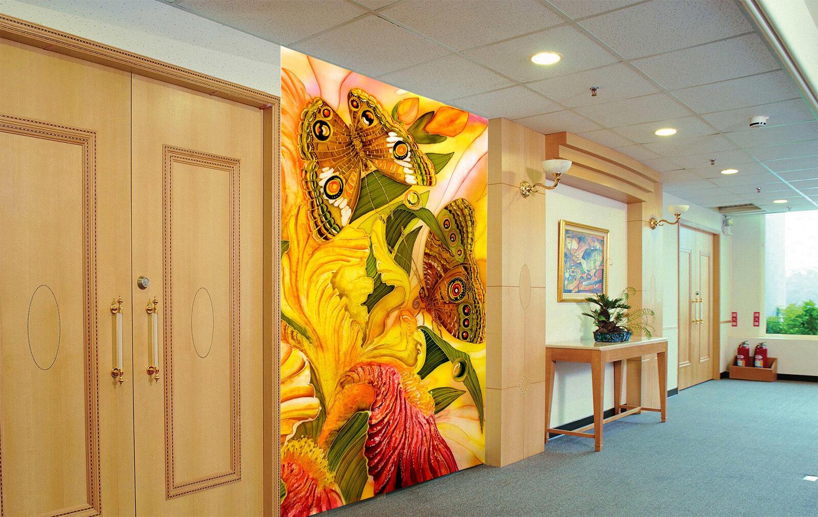 3D Gelb Butterfly 72 Wallpaper Mural Paper Wall Print Wallpaper Murals UK