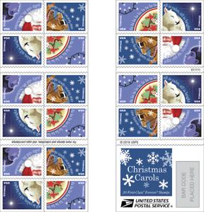20 USPS STAMPS 2016 CHRISTMAS CAROLS Forever Postage Stamps 1 Booklet