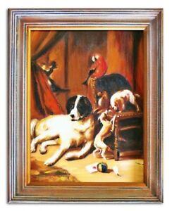 Olbild-Olbilder-Gemaelde-bilder-bild-Handgemalt-Ol-mit-Rahmen-G03655-Hunde