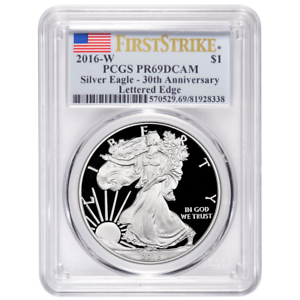 2016-W-Proof-1-American-Silver-Eagle-PCGS-PR69DCAM-First-Strike-Blue-Flag-Label