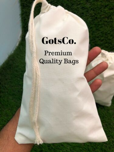 """Size 6/""""x8/"""" inches Natural Cotton Muslin bags *Eco-Friendly* Choose from QTY"""