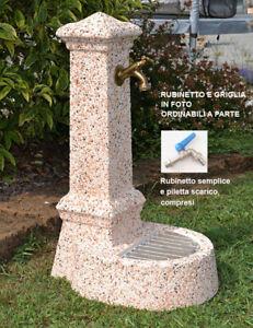 Fontana Giardino Esterno Pietra E Marmo Rubinetto E Piletta H 75 Cm Ebay