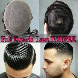 UK-French-Lace-Toupee-Hair-Mens-Hairpiece-100-Human-Hair-Replacement-System-1B