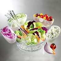 Serving Orbit Bowl-on-ice With 4 Side Servers Tacos Dips Chips Salads Dining