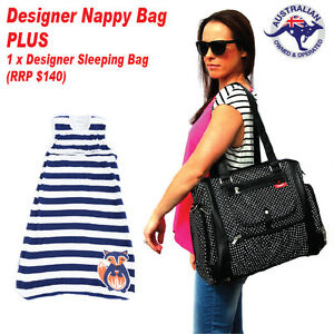 Black Baby Nappy Bag PLUS Designer Boy Merino Wool Baby Sleeping Bag 0-6 months