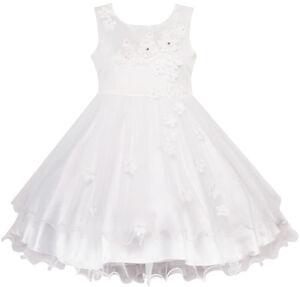 Sunny-Fashion-Robe-Fille-Fleur-Blanc-Mariage-Demoiselle-D-039-honneur-Robe