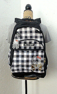 New Sanrio Hello Kitty Black and White Check Backpack