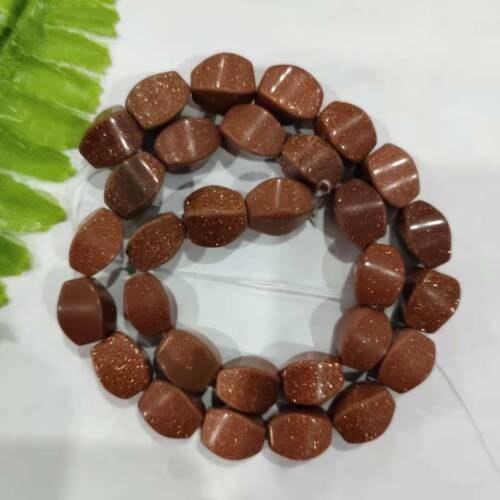 """Details about  /1 Strand 12x9mm Beautiful Gold Sand Stone Column Loose Beads 15/"""" HTZR77"""