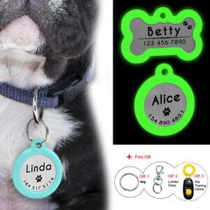 Personalized Dog Tags Glow Cat Pet Tag Silencer Boneround Tag Glow