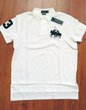 RALPH LAUREN Mens Custom Fit Cotton Dual Match Pony Polo White L  NWT