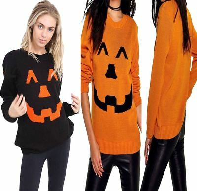 Womens Ladies New Long Sleeve Halloween Print Pumpkin Knitted Jumper Top Sweater