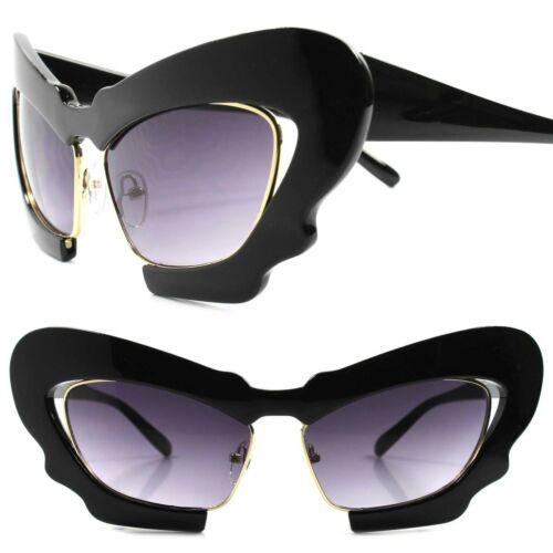 Classic Upscale Womens Oversized Designer Black Gold Frame Cat Eye Sunglasses