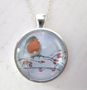 Winter-Robin-on-a-Branch-Silver-Pendant-Glass-Necklace-New-in-Gift-Bag
