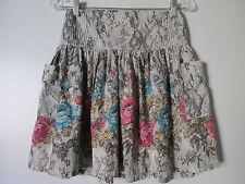 ecote Gray Lace Floral Print Elastic Waist Large Pockets Mini Skirt SZ: M