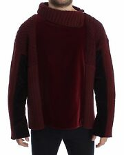 NWT $2700 DOLCE & GABBANA Bordeaux Velvet Wool Runway Sweater Pullover IT50 / L