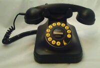 Retro Black Grand Phone Push Button Desk Corded Telephone Pottery Barn  Works !
