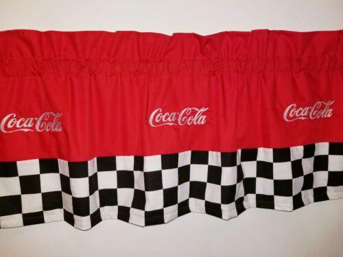 CUSTOM LINED VALANCE 42 X 15  RETRO DINER COCA COLA COKE SODA POP DRINK CURTAIN