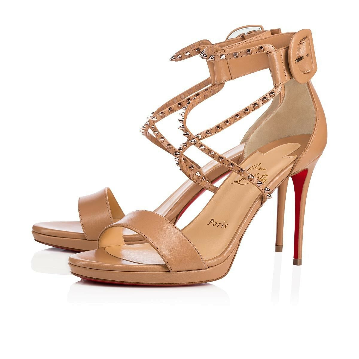 New Christian Louboutin Choca Lux High Nude Leather Sandals Heels Size 35,5