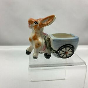 Vintage Donkey Pulling Cart Planter - Blur Cart -  Japan