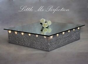 Details About Diamante Wedding Cake Stand Light Up Led Square 18 Display Podium Mirror Top