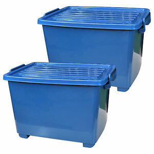2 st ck kunststoffbox mit rollen deckel 18 liter blau plastikbeh lter 22254x2 ebay. Black Bedroom Furniture Sets. Home Design Ideas