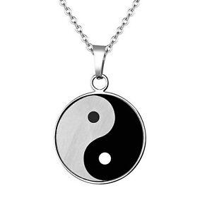 Men-039-s-Black-Silver-Stainless-Steel-Yin-Yang-Taiji-Bagua-Pendant-Necklace-Chain