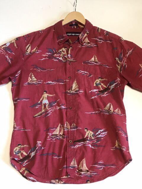 Reyn Spooner Hawaiian Aloha Men's Shirt Surf Theme