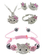 Hello Kitty Style 4 Piece Crystal Set Earrings Necklace Bracelet Ring, HKSet6