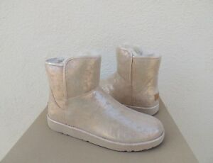 6254afa4d3b Details about UGG ABREE MINI STARDUST GOLD SUEDE SHEARLING ANKLE BOOTS, US  10/ EUR 41 ~NIB