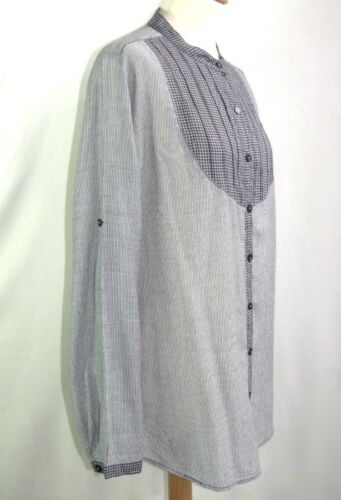 M M Excl Etat 38 Berenice Coton Chemisier Gris Blanc Taille Longues Bleu 8xw1Tqn5p