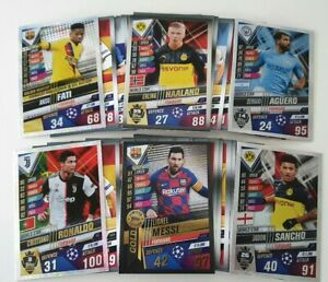 2020 Match Attax 101 Soccer Cards - Lot of 50 cards inc Messi Limited Edition