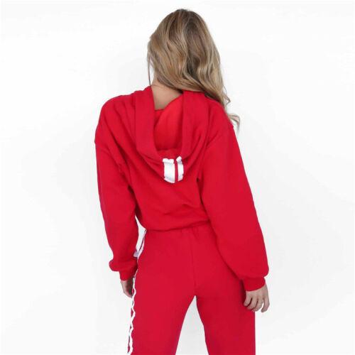 Women Long Sleeve Tracksuit Hoodies Sweatshirt Pants Sets Sport Gym Casual Suit