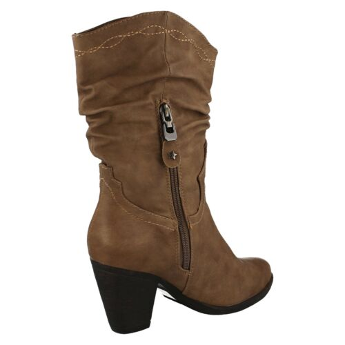 F50176 LADIES ZIP SLOUCH MID CALF LENGTH HEELED CASUAL COWBOY BOOTS SPOT ON