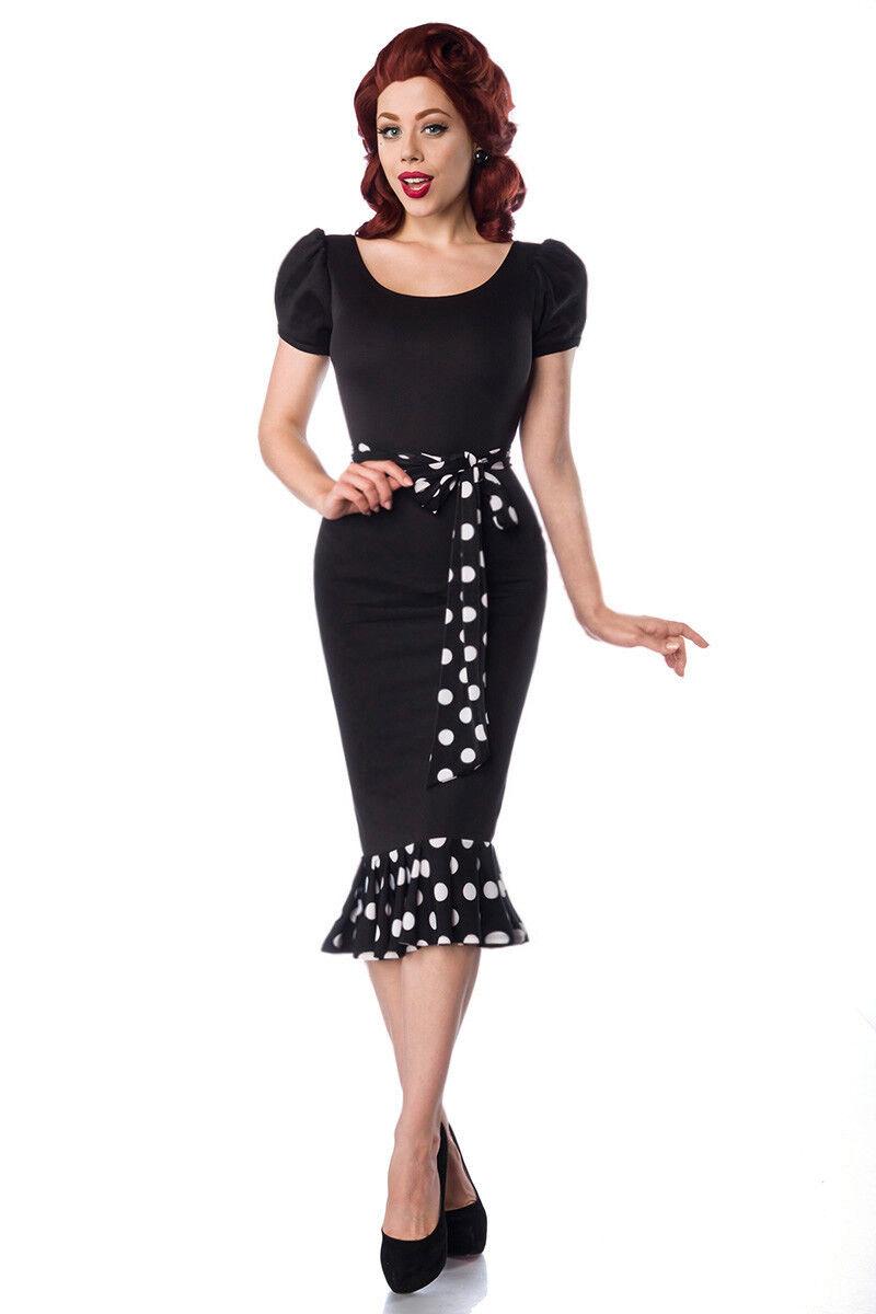 Jersey Kleid edel Puffärmel Retrostil Rundhals Rockabilly schwarz inkl Gürtel